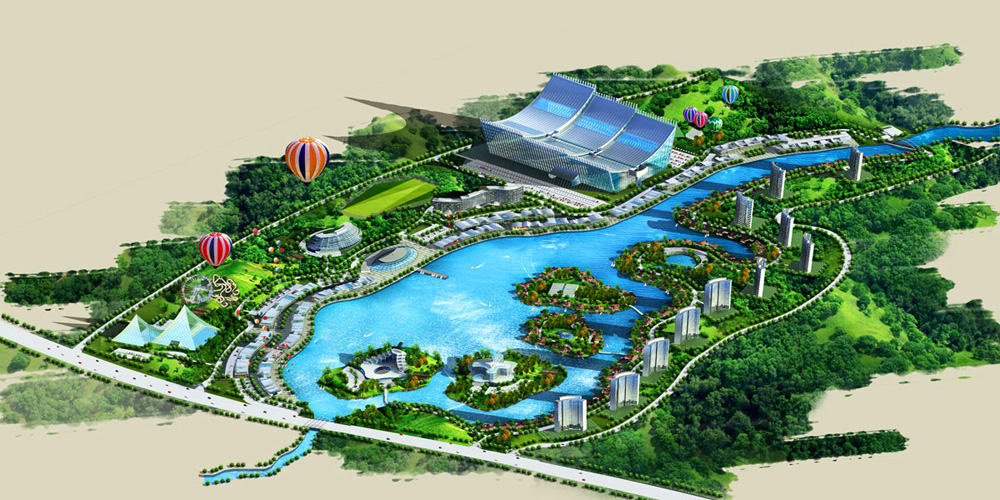 Ocean-Park-Resort-for-Dujiangyan-1-Birds-Eye-Perspective-Rendering