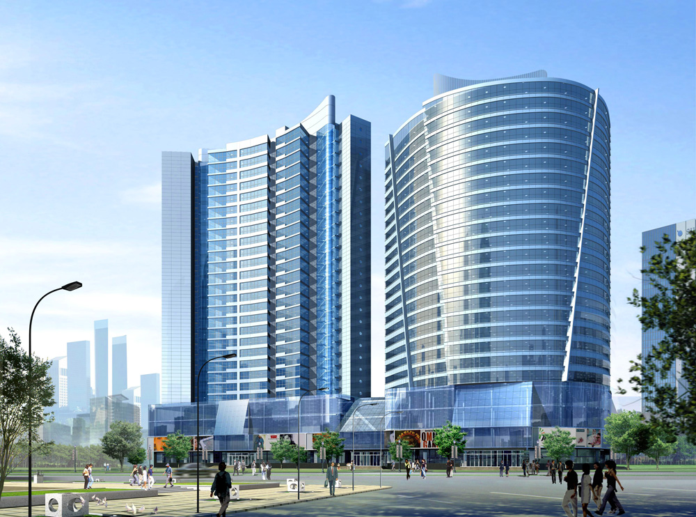 ShenYang-Jinli-Plaza-1-Exterior-Rendering-Office-Residental-Towers-on-Commercial-Base1